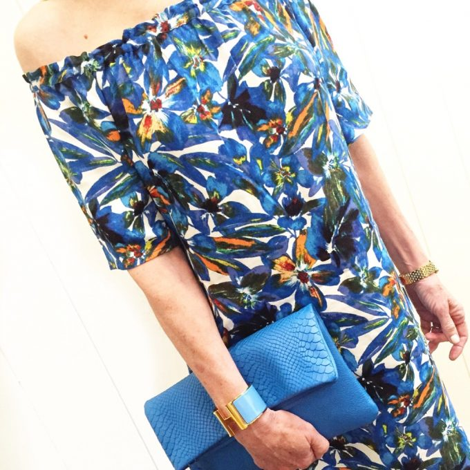 off the shoulder dress, tropical print off the shoulder dress, electric blue clutch