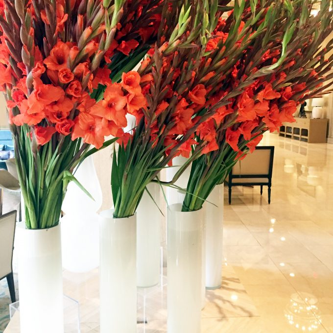 beautiful flower arrangement, red gladiolas