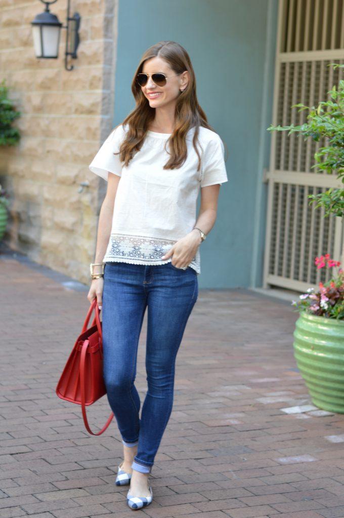 lace trim top, red handbag