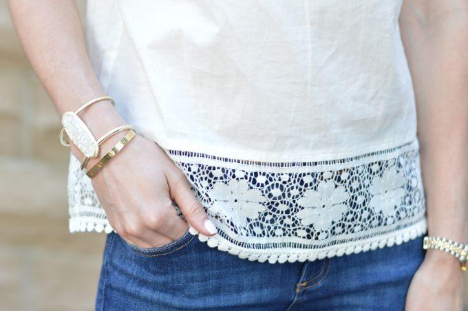 white eyelet, statement bracelet