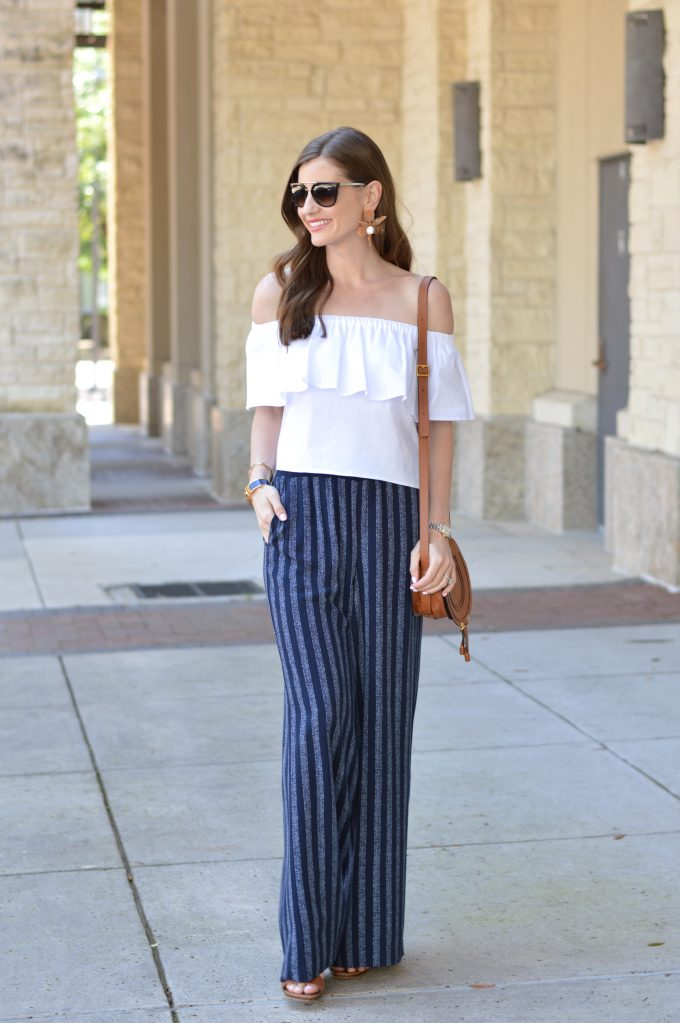 wide leg pants, cropped off the shoulder top