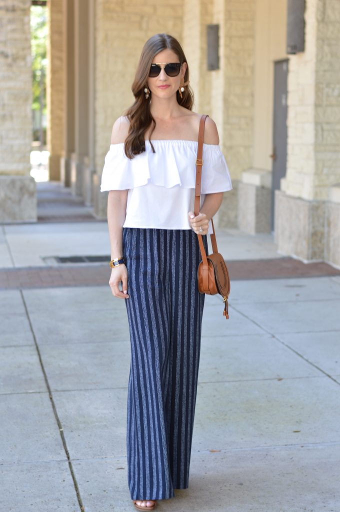 white off the shoulder top, cropped off the shoulder top, wide leg pants