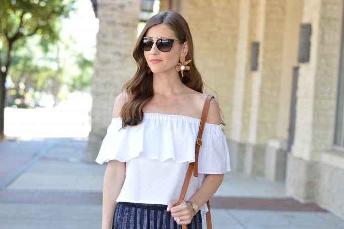ruffled off the shoulder top, statement earrings