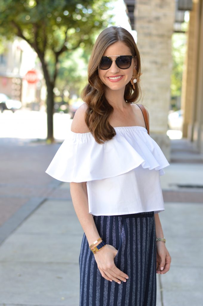 loose waves, ruffled off the shoulder top, statement earrings