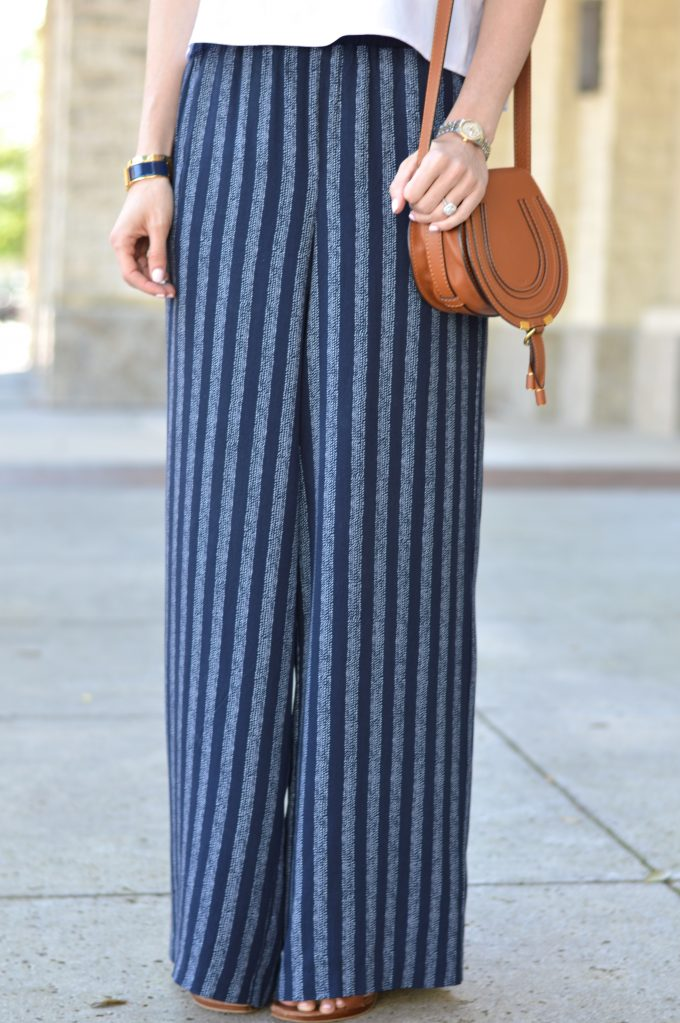 wide leg pants, cognac handbag