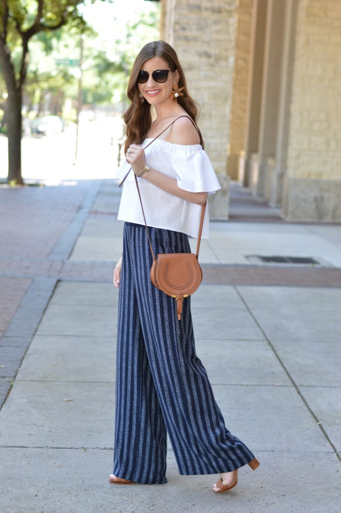 cognac cross body bag, white off the shoulder top
