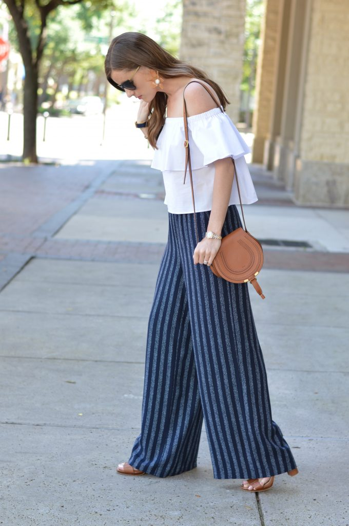wide leg pants, cognac cross body bag, city sandals