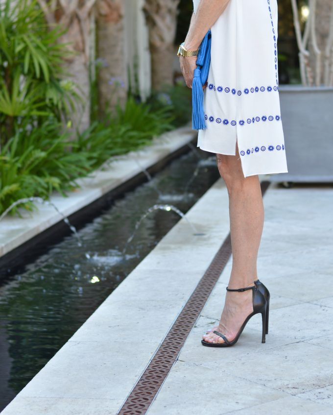 the nudist sandal, shoshanna dress, high low hemline