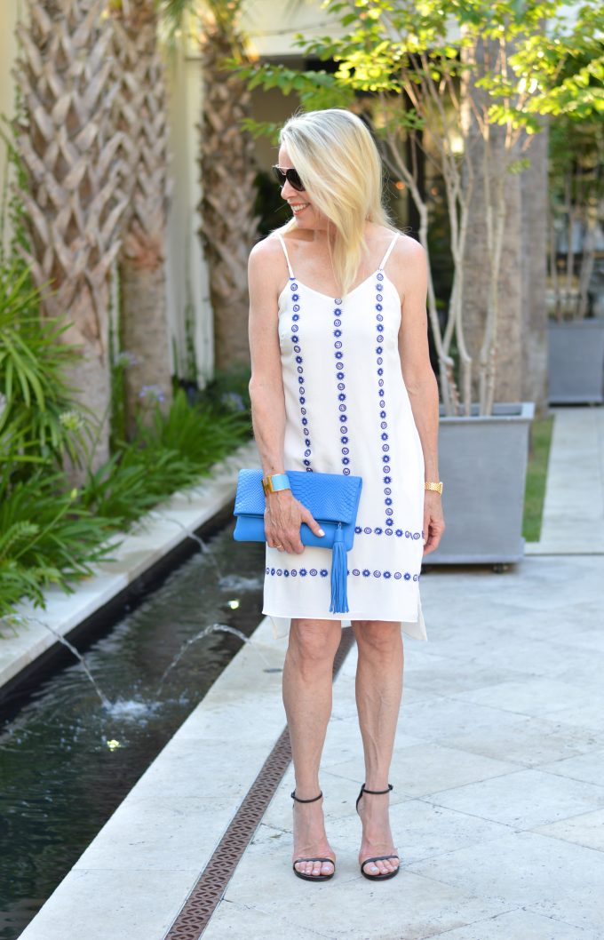 cannon green, charleston restaurants, shoeshine dress, blue clutch, monogrammed clutch