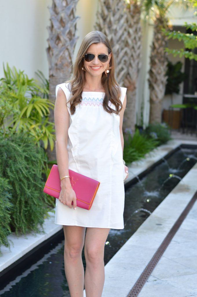 white summer dress, Shoshanna dress, hot pink clutch