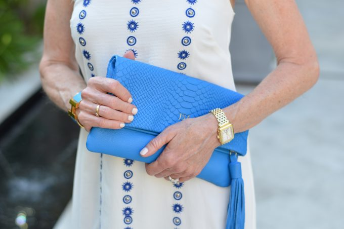 bright blue clutch, monogrammed clutch, clutch with tassel