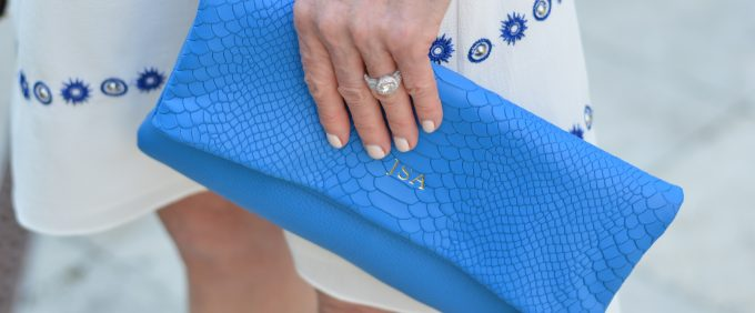 bright blue clutch, monogrammed clutch
