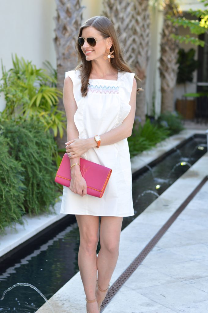 white dress, casual white dress, hot pink clutch