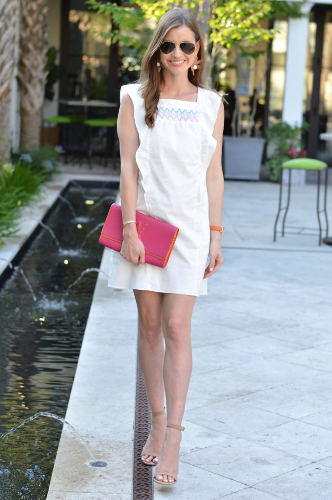 white dress with embroidery, Shoshanna dress, hot pink clutch