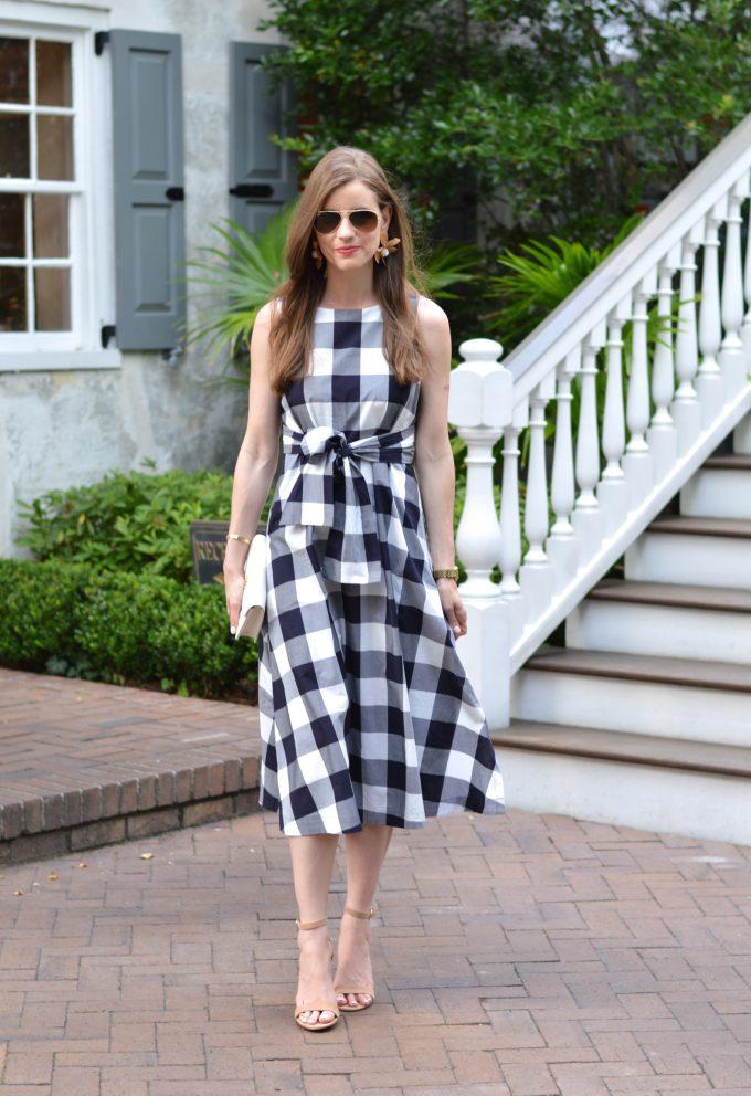 gingham dress, ladylike dress, white clutch, nude strappy sandals