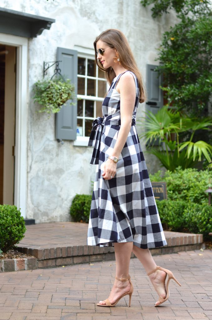 gingham dress, nude strappy sandals