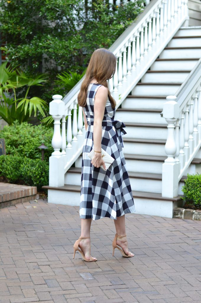 blue and white gingham dress, white clutch