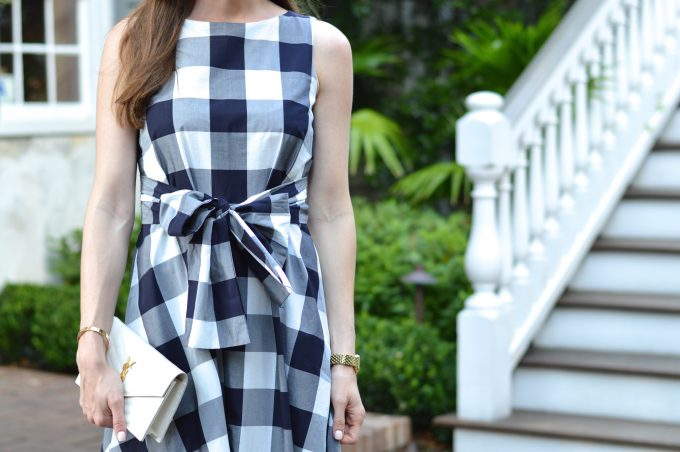 blue and white checked dress, dress with a bow, white clutch