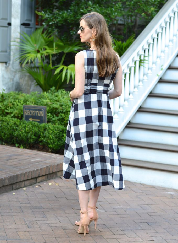 blue and white gingham dress