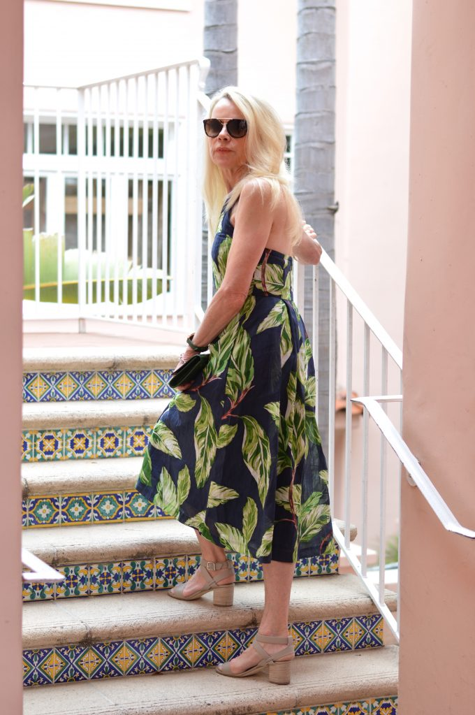 palm print midi dress, city sandals