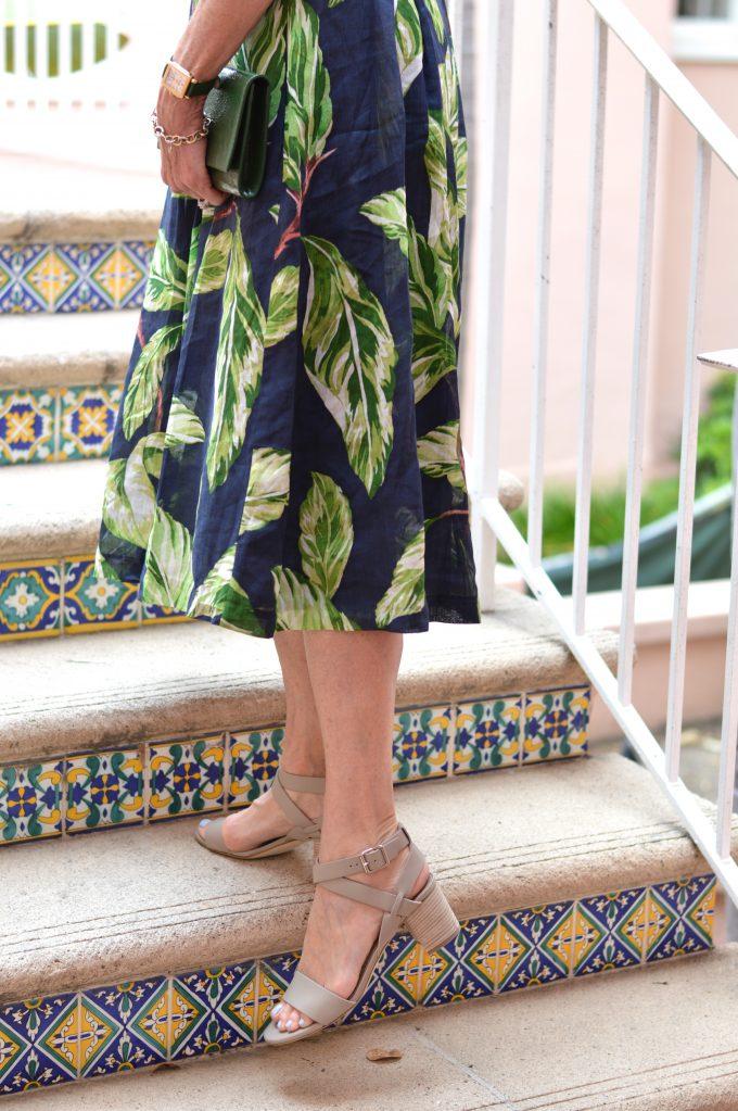 palm print dress, city sandals