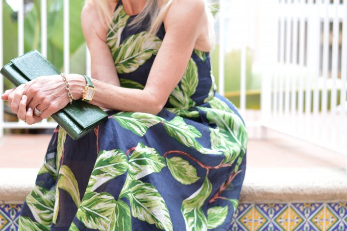 palm print halter dress, green clutch
