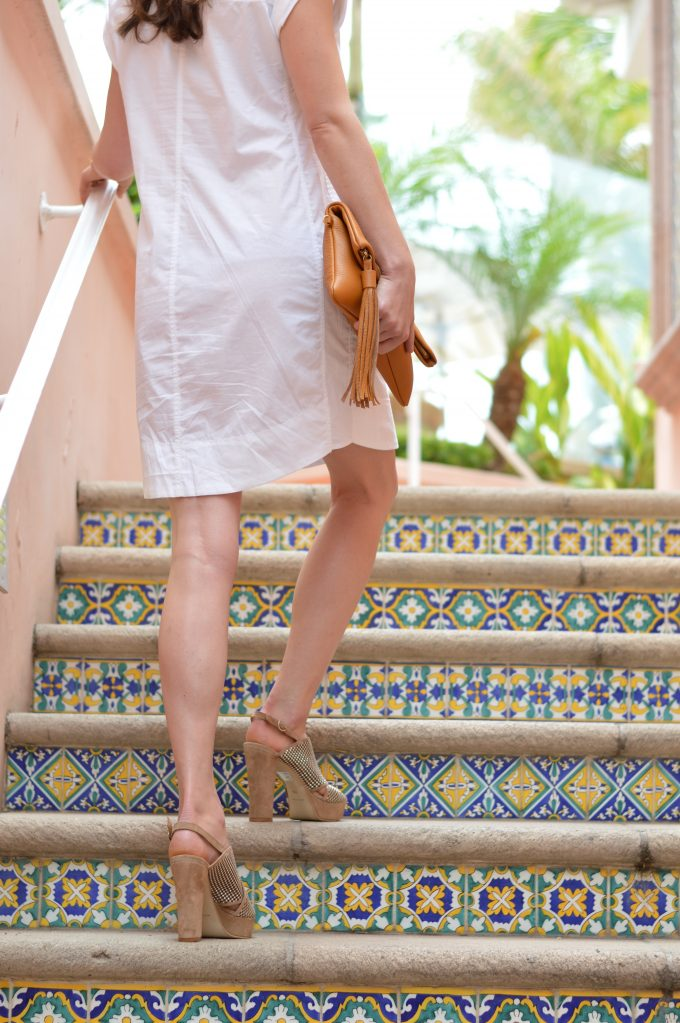 mini shirtdress, m. gemi shoes, nude platform sandals