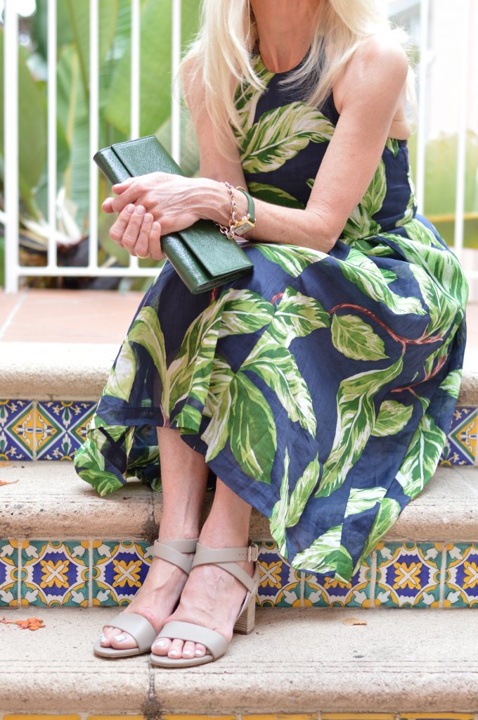 palm print midi dress, green clutch, city sandals,m. gem shoes