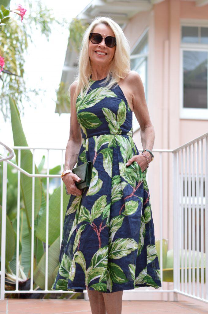 palm print dress, halter midi dress