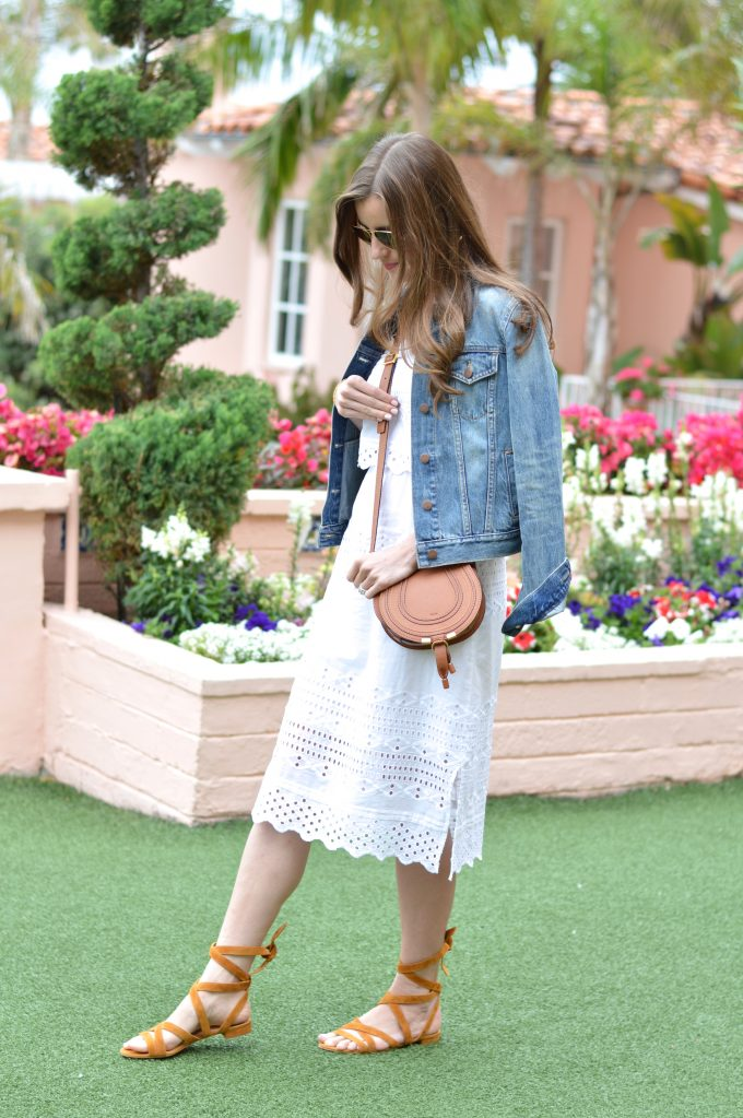 m. gemi shoes, white lace midi dress, luggage cross body bag, lace up sandals