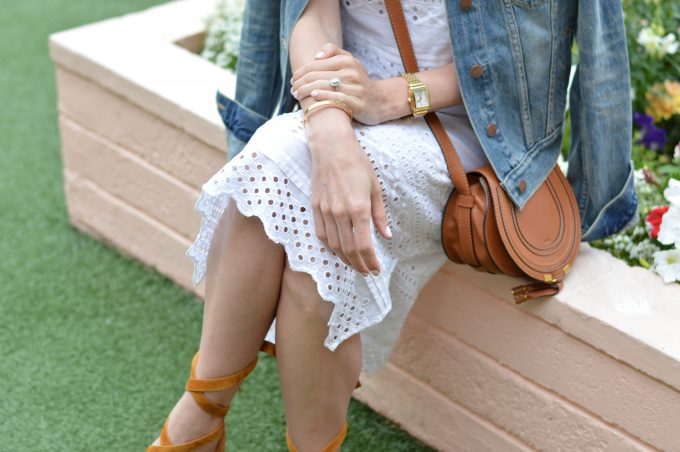white lace midi dress, lace up sandals, cognac sued gladiator sandals