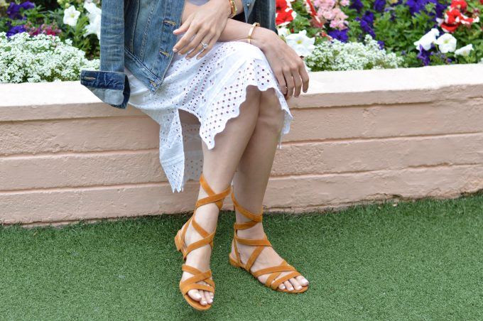 white eyelet midi dress, lace up sandals