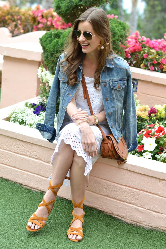 white lace midi dress, brown cross body bag, lace up sandals, jean jacket