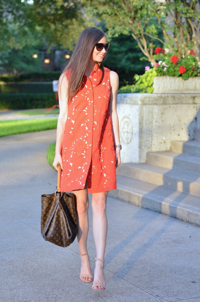 red lace dress, brown hobo bag, designer hobo bag, nude strappy sandals