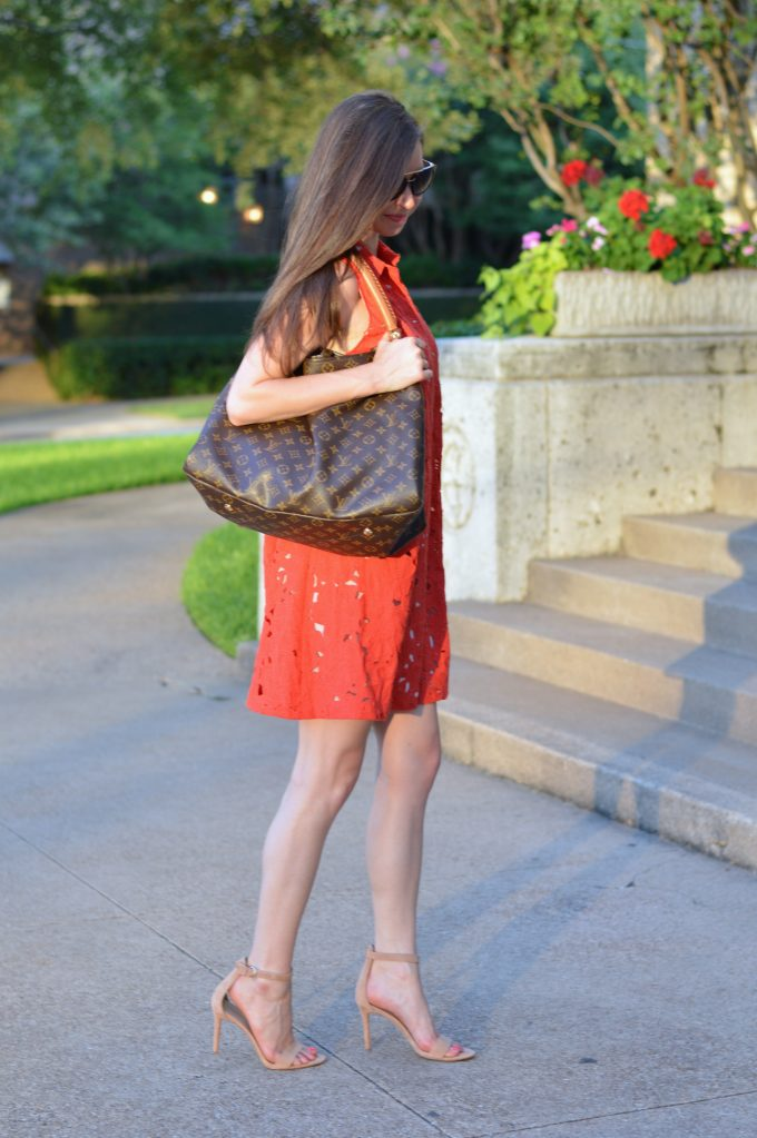 red lace shirtdress, designer hobo bag, nude strappy heels