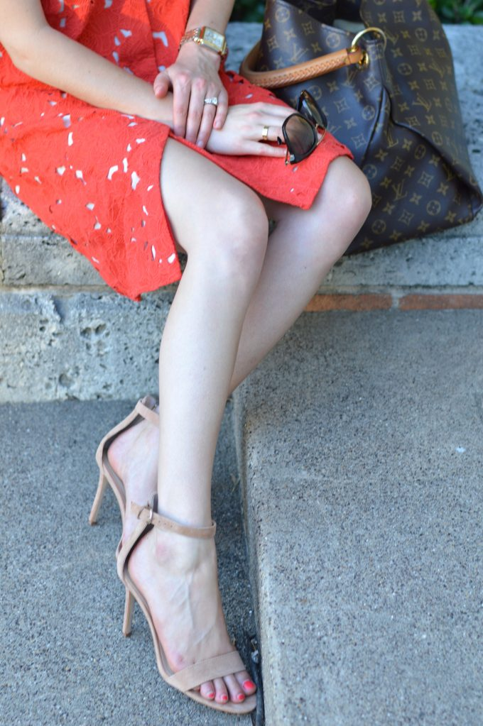 nude strappy sandals, ladies two tone watch