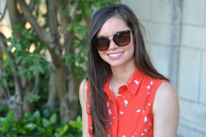 tortoise sunglasses, red lace shirtdress