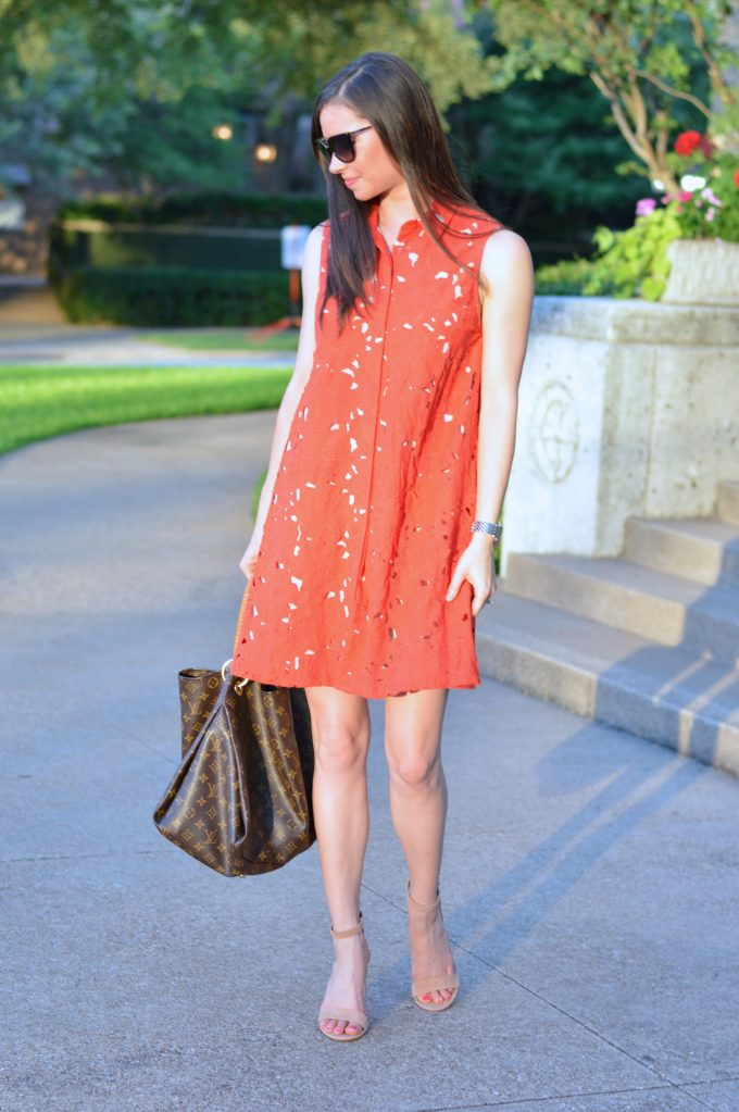 red lace shirtdress, hobo bag, nude strappy heels