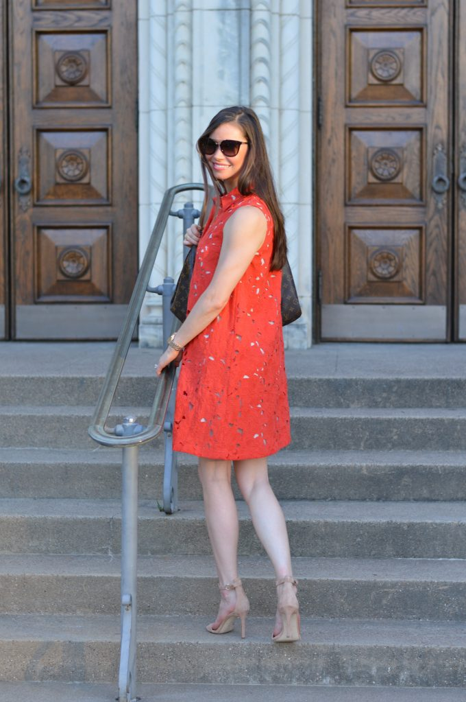 red lace shirtdress, nude strappy sandals