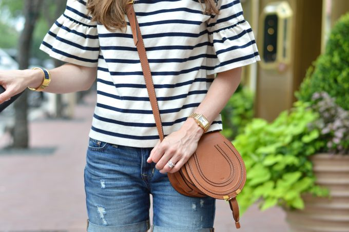 striped bell sleeved top, luggage cross body bag
