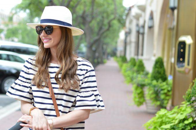 white fedora, tortoise sunglasses