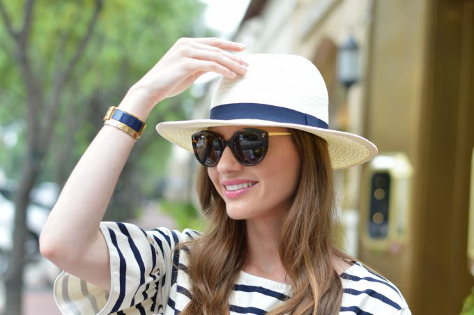 striped bell sleeve top, white fedora