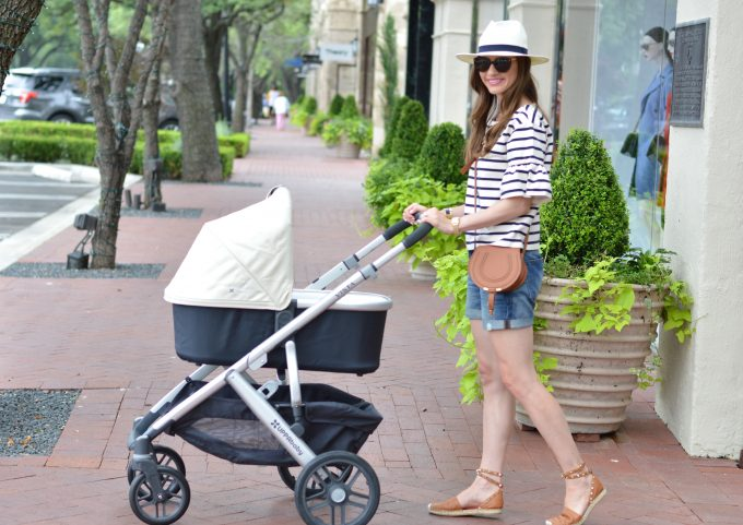 striped bell sleeve top, cream baby stroller