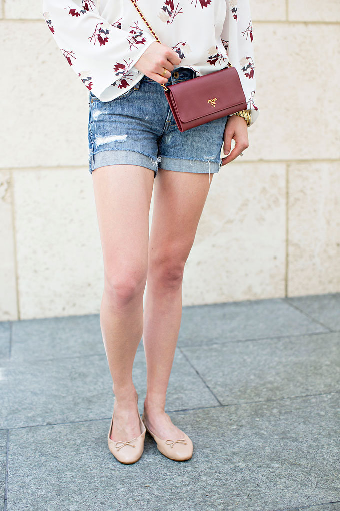 Accessorizing with a Prada wallet on a chain and classic ballet flats in nude