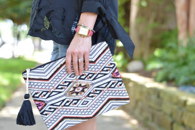 tribal print clutch, ladies watch with hot pink strap
