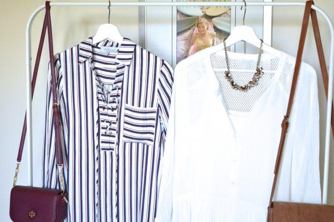 striped lace up dress, winter white dress, statement necklace
