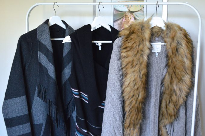 gray sweater with removeable fur trim, striped blanket vest, plaid coat