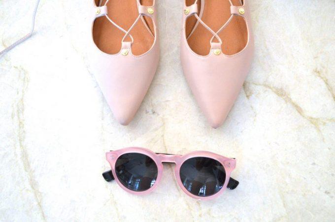 blush pink lace up fllats, pink sunglasses