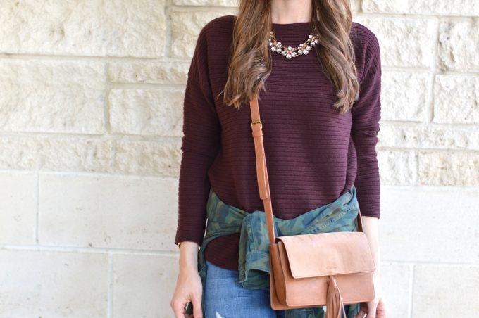 oxblood sweater , saddle crossbody, statement necklace