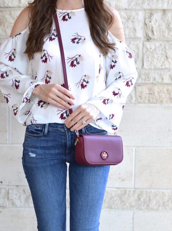 floral cold shoulder top, oxblood crossbody bag